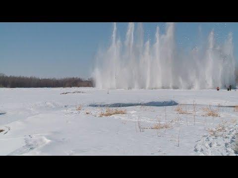"""""""Я в Бийске"""" - подрыв льда на реке Бия (Бийское телевидение)"""