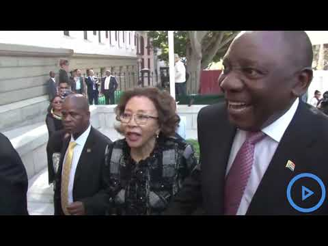 ANC leader Cyril Ramaphosa leads South African deputies into parliament at Cape Town