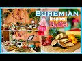 Bohemian Wedding Shower Party Decor Ideas | Boho Chic Appetizer Buffet Table