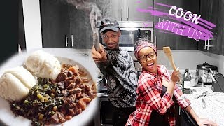 COOK WITH US UGALI AND SUKUMA LOL KENYAN  DISH + ANSWERING MOST ASKED QUESTIONS WITH MY FIANCE