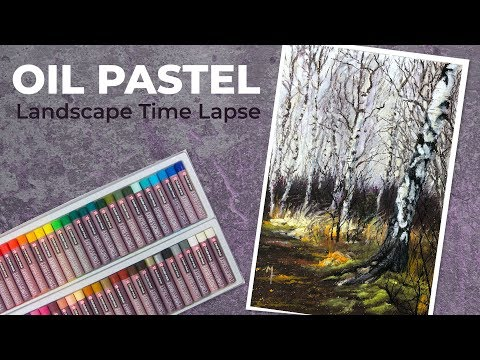 Landscape Drawing with Oil Pastels - Time Lapse