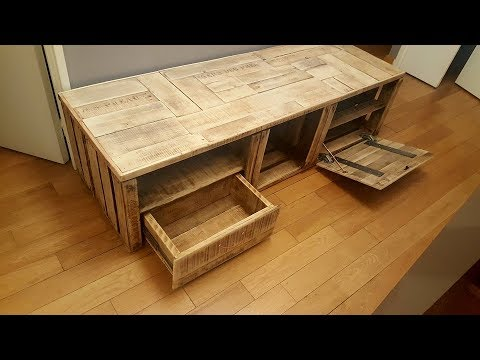 meuble tv bois de r cup by adopteunecaisse maker youtube. Black Bedroom Furniture Sets. Home Design Ideas