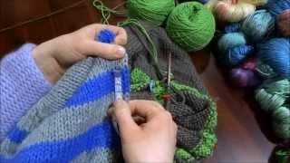 RVO - Raglan von oben Pullover stricken mit Rund-Ausschnitt u Streifen (Teil 4 von 8)