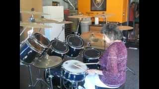 Mom Playing Drums on her 95th Birthday 042.AVI