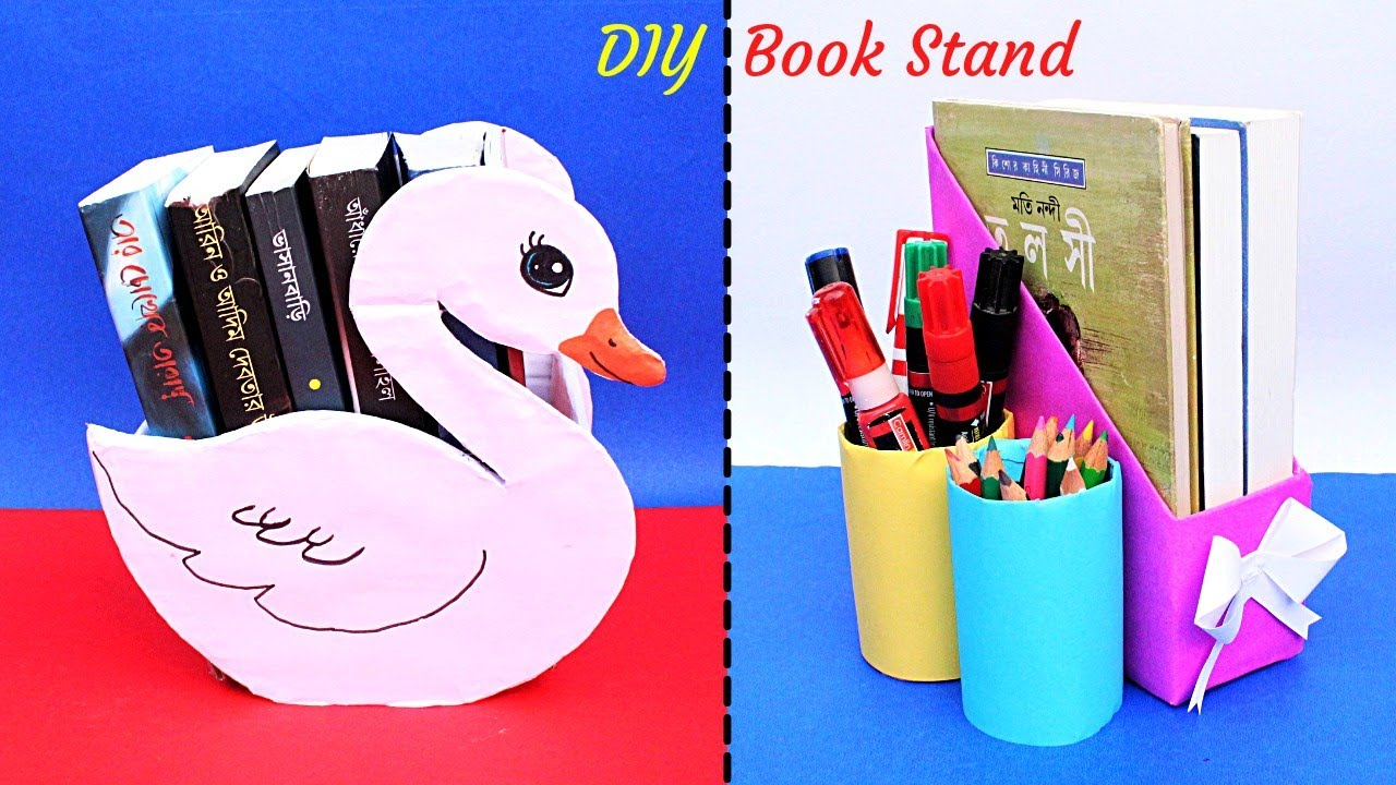 DIY Book Stand| How to make Book Holder at home| 2 Easy Book Organizer