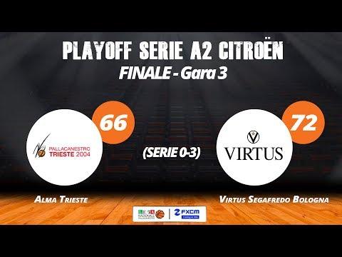 Finale, gara 3-Alma Trieste - Virtus Segafredo Bologna 66-72