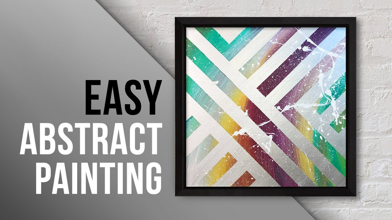 Abstract Acrylic Painting With Masking Tape Daily Art Easy Diy Painting 025 Youtube