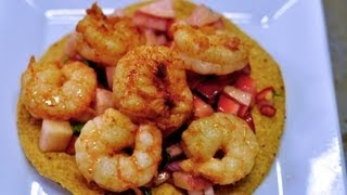 Shrimp Tostada With Peach And Strawberry Salsa Recipe