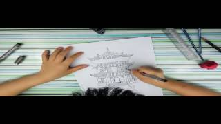 How to draw a chinese temple