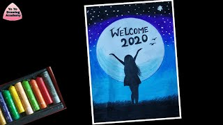 Step by Step New Year Drawing for Beginners with Oil Pastels 2020