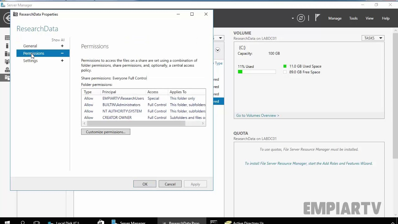 How to Create shared folder in windows server 2016