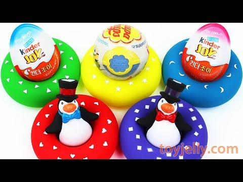 Penguin Tube Surprise Egg Kinder Joy Toys Learn Colors Play Doh Popsicles Baby Finger Nursery Rhymes