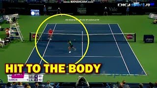 Caroline Garcia gets hit by Sasnovich to the body but wins point