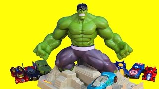 Hot Wheels Hulk Smash Spin Out with Spiderman Thore Captain America Wolverine Marvel Avengers Cars