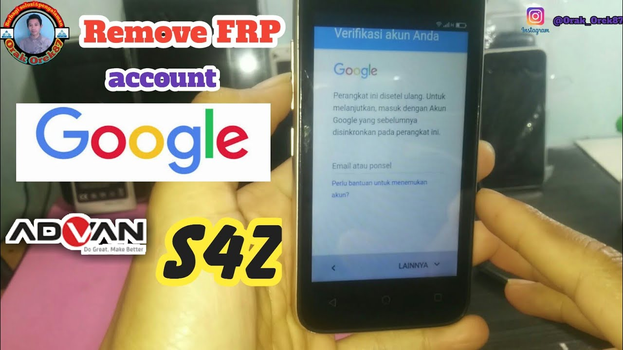Cara Remove Frp Account Google Advan S4z Youtube