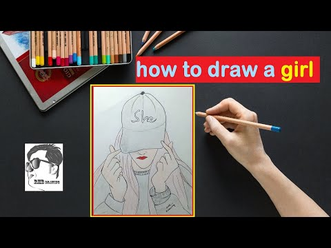 how-to-draw-a-a-girl-wearing-cap---easy-drawing