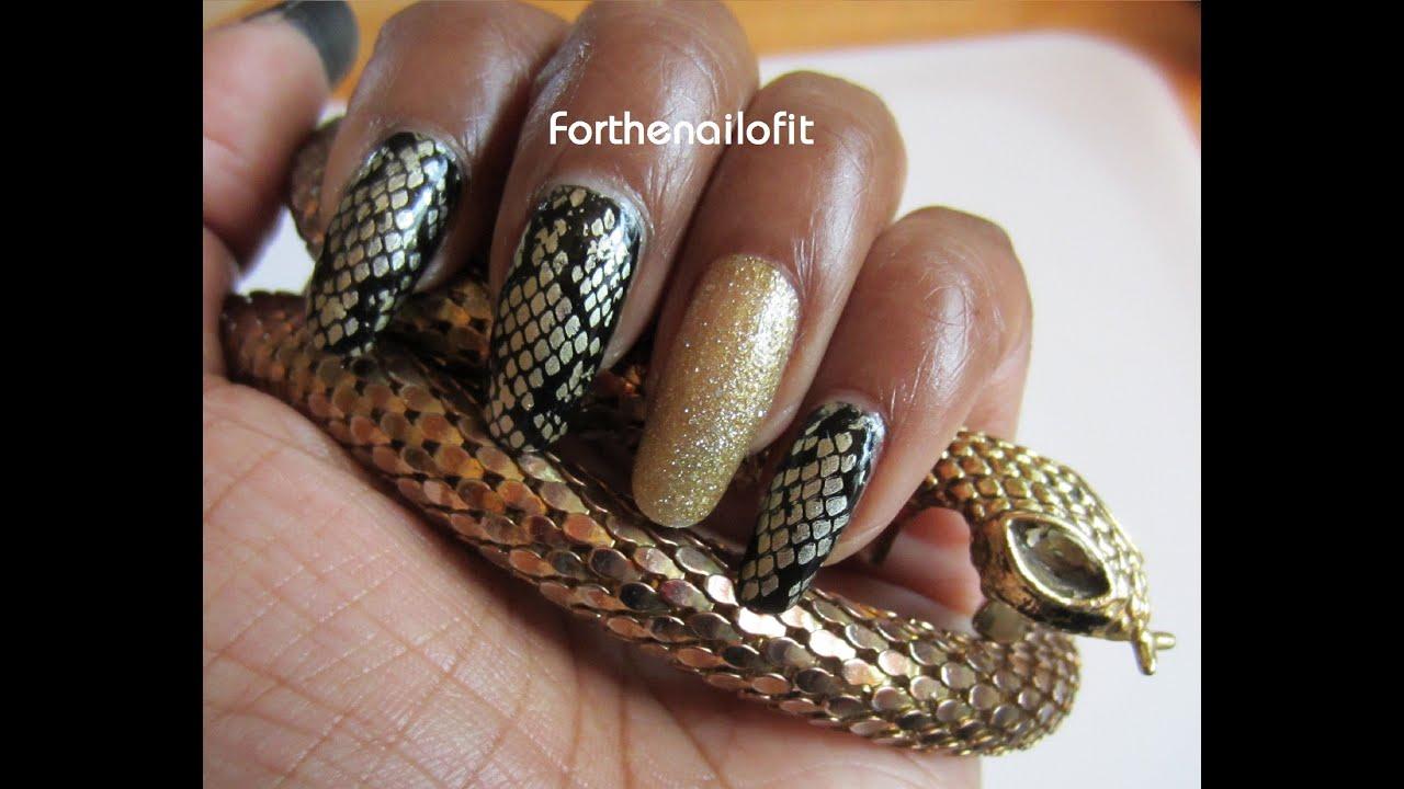 Gold Snakeskin Manicure - Bundle Monster Stamping