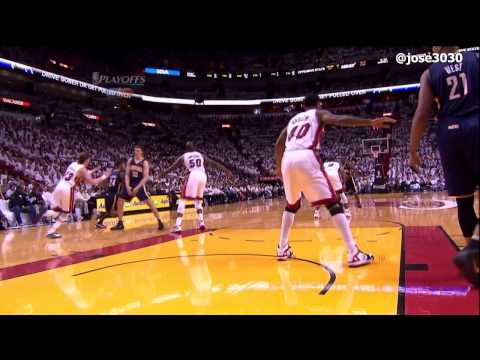 Udonis Haslem Flagrant Foul on Tyler Hansbrough - Pacers @ Heat 2012 NBA Playoffs
