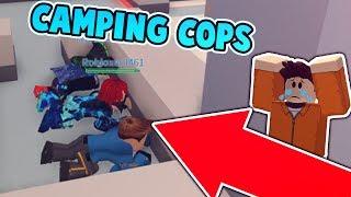 KID CRIES ABOUT CAMPING COPS IN JAILBREAK?! (Roblox Jailbreak)