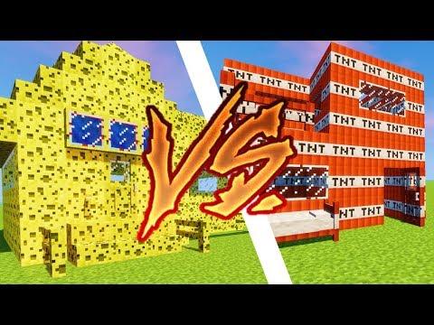 MAISON MINECRAFT EN TNT VS MAISON EN EPONGE !