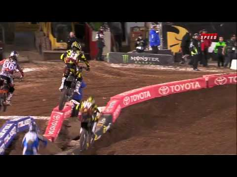Jason Anderson throws away his Neck Brace in mid Air at Salt Lake City Supercross 2012 Official