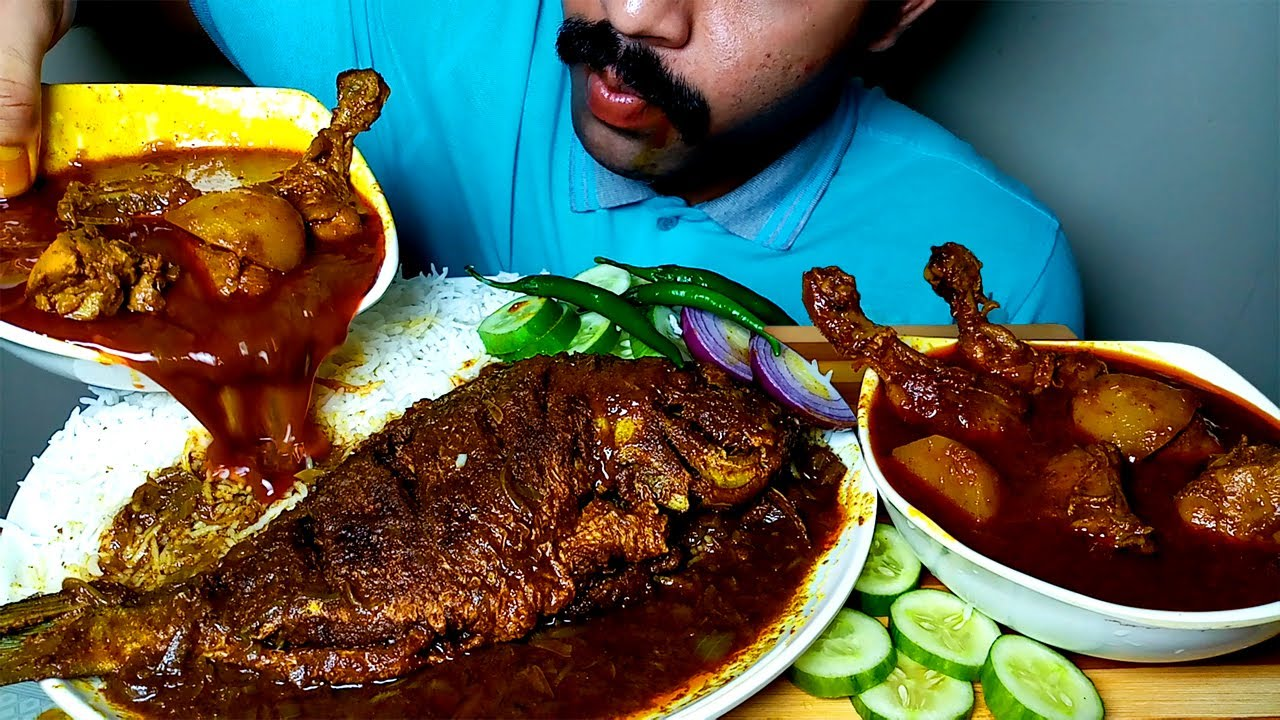 SPICY FISH CURRY WITH SPICY CHICKEN CURRY AND RICE EATING SHOW|#HungryPiran