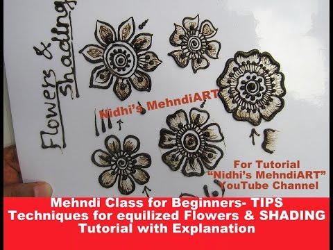 Mehndi Class for Beginners- TIPS Techniques for equalized Flower & SHADING Tutorial Explanation - 동영상