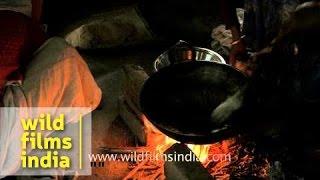 Preparations of hando guri ahead of Bihu at Chandrapur village Assam