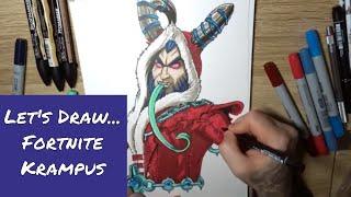Let's Draw FORTNITE - Krampus skin - Speed Drawing