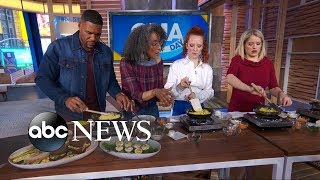 Carla Hall shows Michael, Sara and Jess Glynne how to make the perfect omelet Video