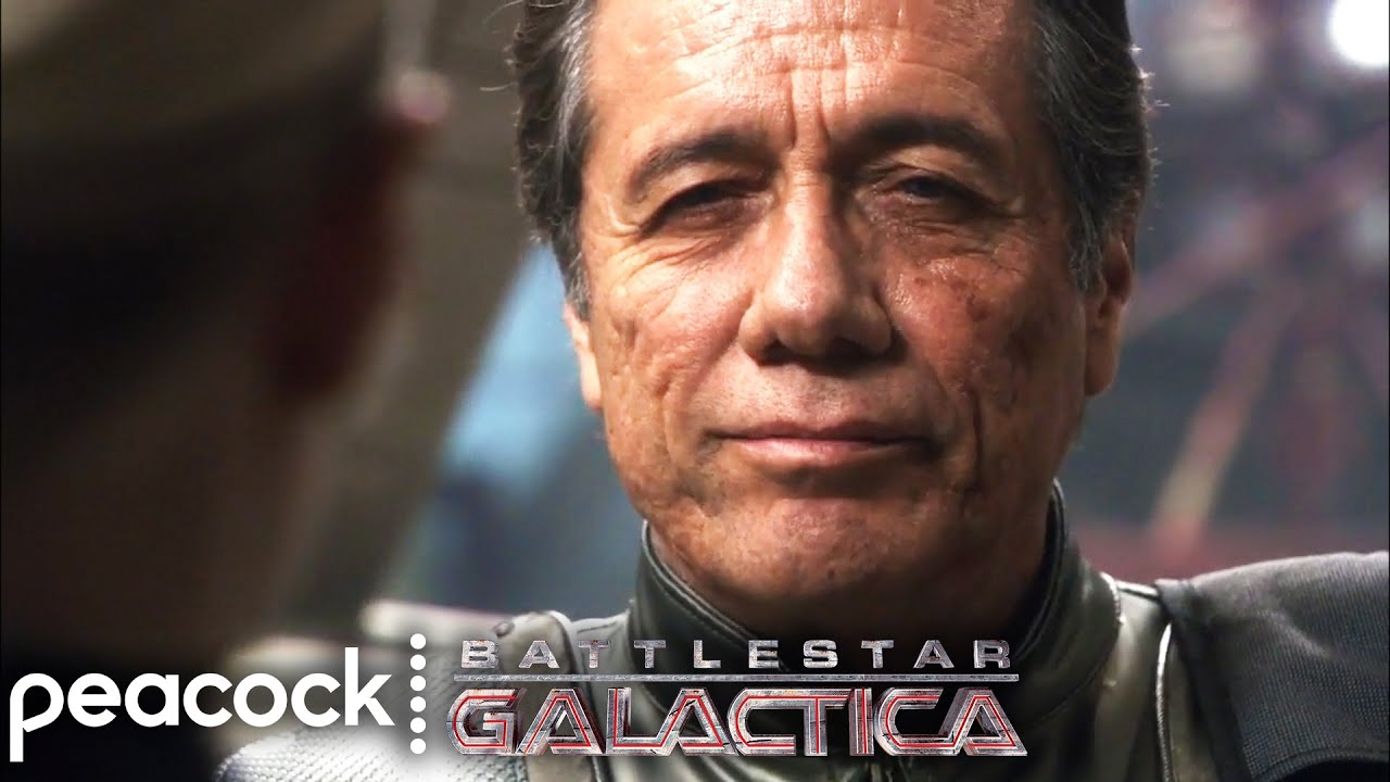 Battlestar Galactica | Admiral Adama Waits for Laura to Return