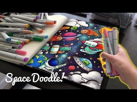 EPIC SPACE DOODLE!   Copic Marker Doodle Illustration