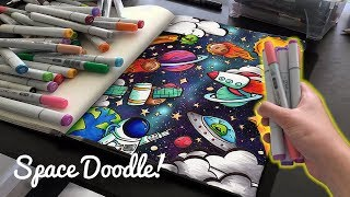 EPIC SPACE DOODLE! | Copic Marker Doodle Illustration thumbnail