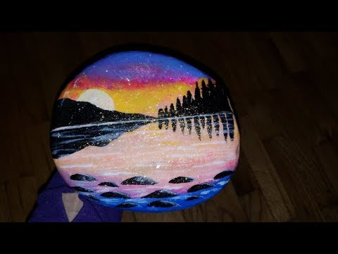 acrylic landscape painting on river rock with a resin top coat / resin art / epoxy art