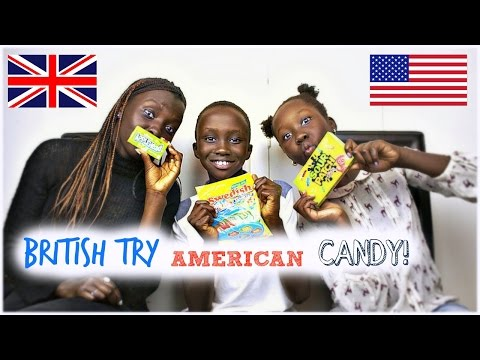 BRITISH PEOPLE TRY AMERICAN CANDY | TJ AND LIBBY WITH SURPRISE DUMPING GROUND GUEST!