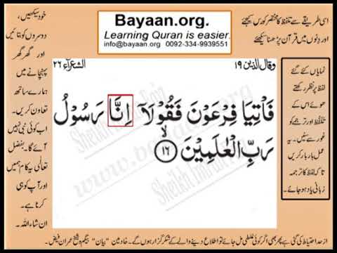 Quran in urdu Surrah 026 Ayat 016 Learn Quran translation in Urdu Easy Quran Learning