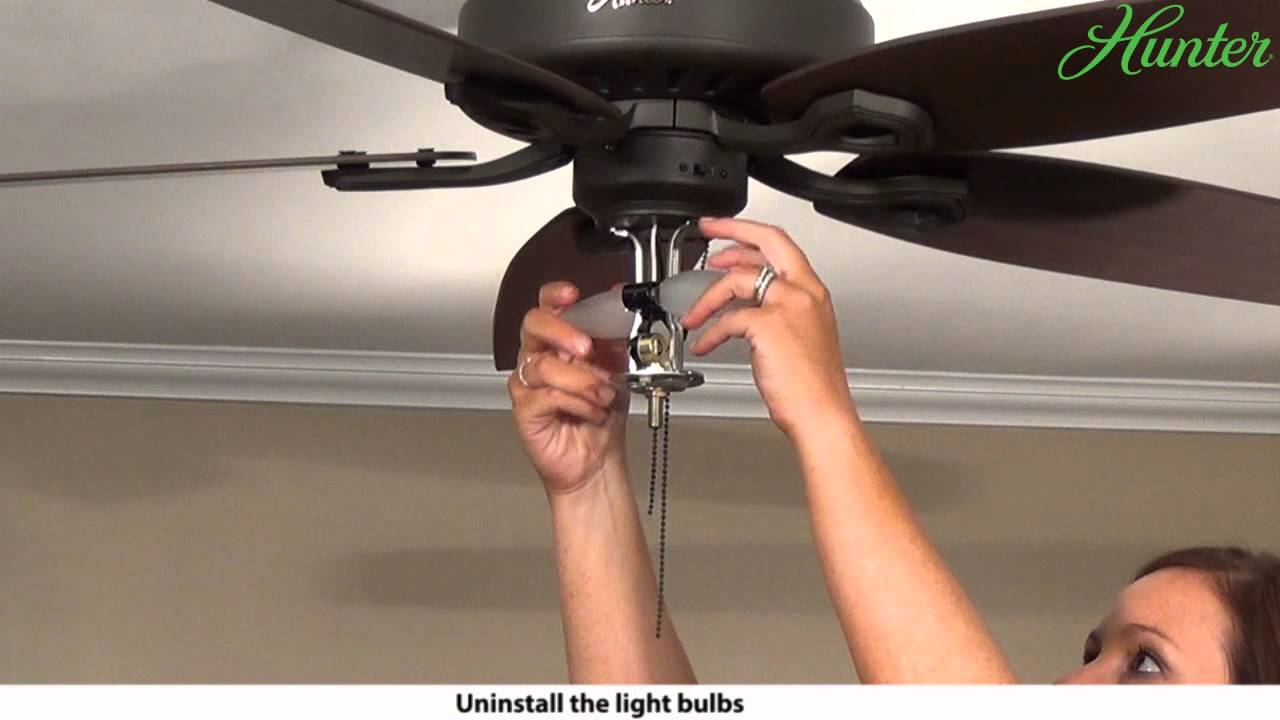 How to Remove a Light Kit from Your Hunter Ceiling Fan   5xxxx     How to Remove a Light Kit from Your Hunter Ceiling Fan   5xxxx Series Model  Fans   YouTube