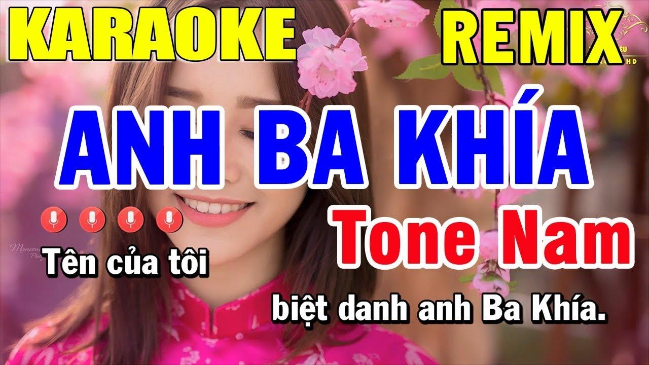 Karaoke Anh Ba Khía Remix Tone Nam Nhạc Sống | Trọng Hiếu