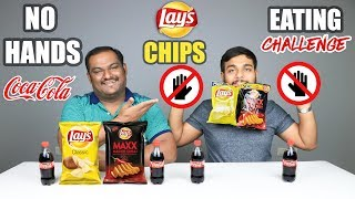 NO HANDS LAYS CHIPS EATING CHALLENGE WITH COKE   Potato Chips Eating Competition   Food Challenge