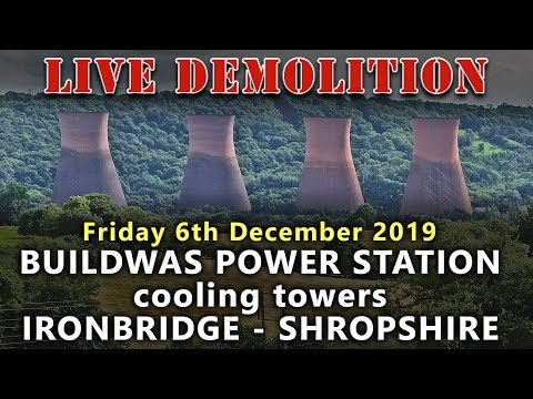 Demolition Of The Ironbridge Power Station Cooling Towers - Live View - 11am UK Time
