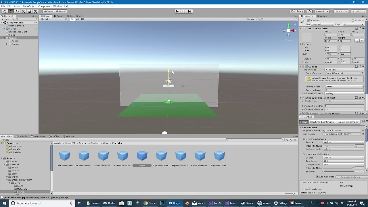 HOW TO: Laser Pointer with UI Buttons in Unity 3D and VR