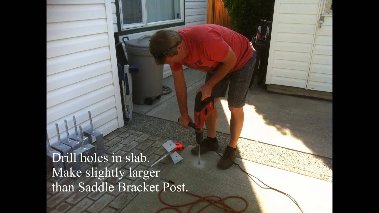 How To Install Post Saddle Brackets For A Pergola On An Existing Concrete  Slab.   YouTube