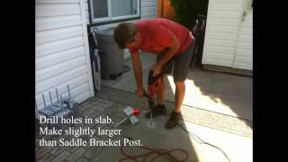 How To Install Post Saddle Brackets For A Pergola On An Existing Concrete Slab.