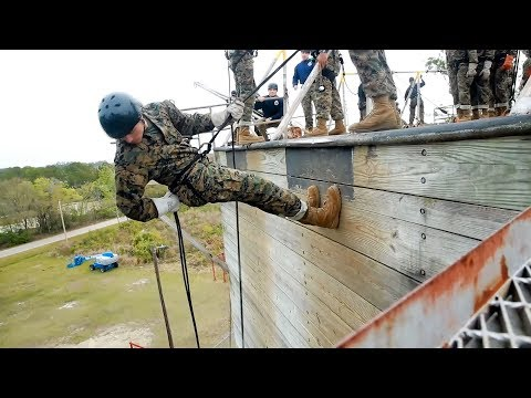 Marine Corps Recruits - Rappel Tower At Parris Island