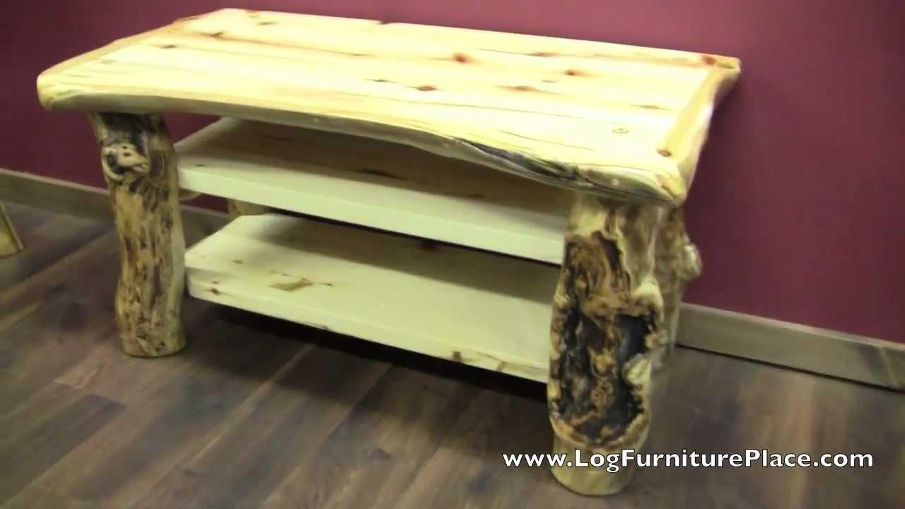 Aspen Lodge Log TV Stand From LogFurniturePlace.com   YouTube