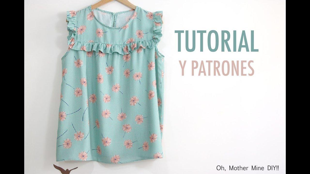 Aprender a coser: Blusa volante de mujer (patrones gratis) - YouTube