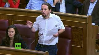 Pablo Iglesias ironiza y parodia la pregunta de Rajoy a Puigdemont