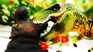 ДИНОЗАВРЫ. Тираннозавры съели Быка и Бегемота. Мультик про Динозавров. Тираннозавр Рекс Игрушки ТВ