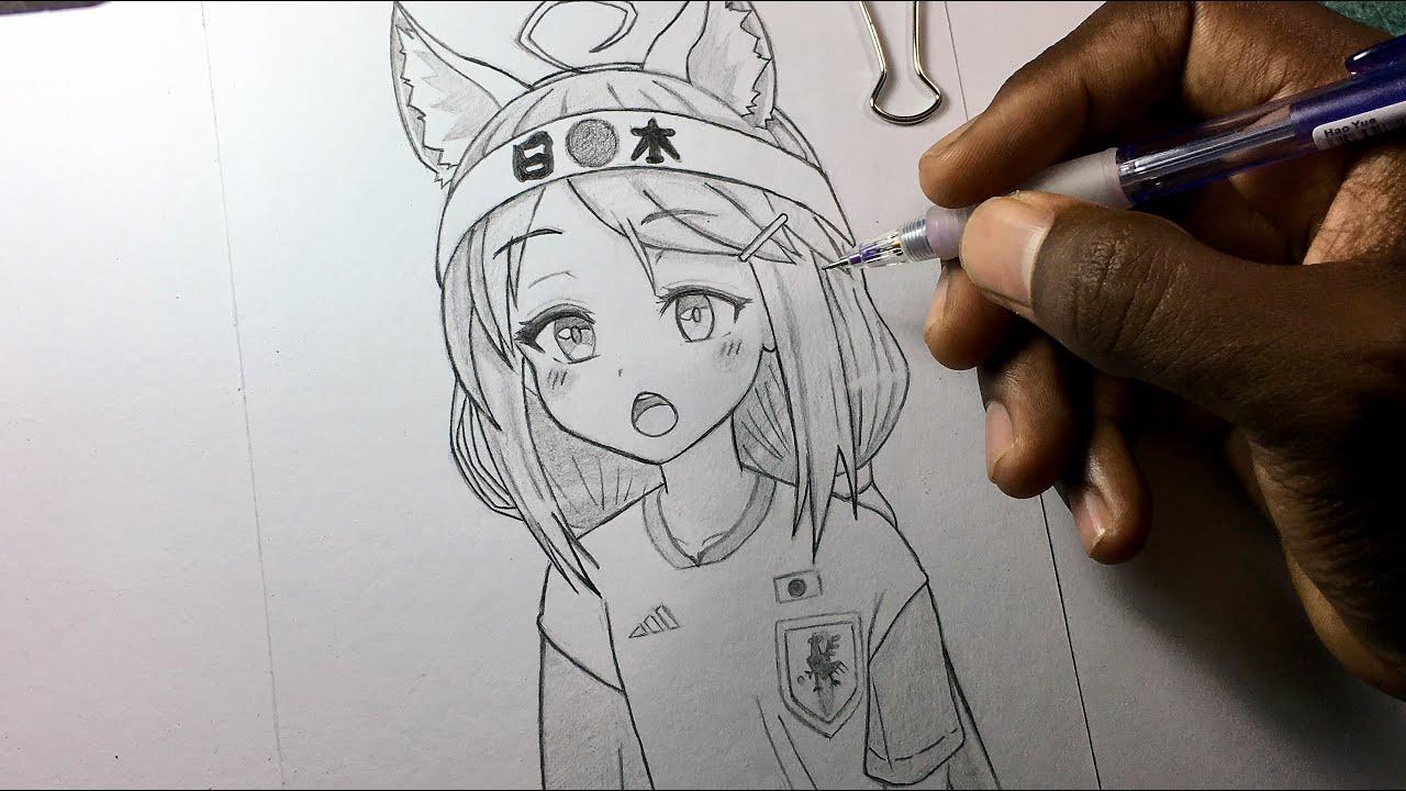 كيف ترسم فتاة انمي كيوت بقلم رصاص فقط Drawing Cute Anime Girl
