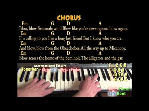 Seminole Wind - Easy Piano - Cover Lesson with Lyrics